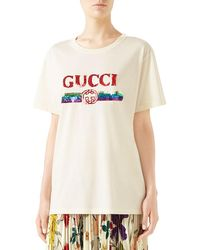 31c5490db Gucci - Crewneck Short-sleeve Cotton T-shirt With Sequined Logo - Lyst