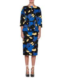 Marni - 3/4-sleeve Floral Peplum Dress - Lyst