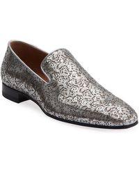 Christian Louboutin - Men's Dandelion Laser-cut Metallic Leather Loafers - Lyst