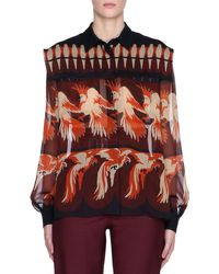 Fendi Bird-print Long-sleeve Silk Georgette Blouse - Multicolour
