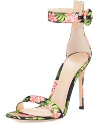 Gianvito Rossi - Floral-print Ankle-strap Sandals - Lyst