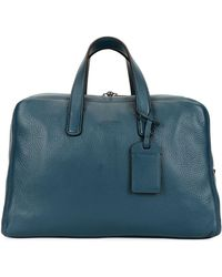 Giorgio Armani Men's Deer Leather Carryall Duffel Bag - Blue