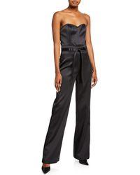 J Brand Jenna Strapless Sateen Jumpsuit - Black