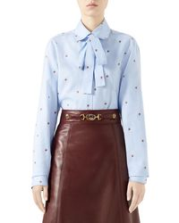 Gucci - Strawberry Fil Coupe Tie-neck Blouse - Lyst