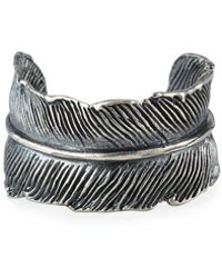 M. Cohen Men's Silver Casted Feather Ring - Metallic