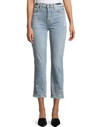 7 For All Mankind - Edie Distressed Bleached Denim Straight-leg Jeans - Lyst