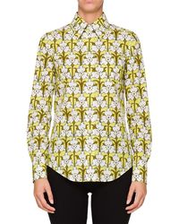 Prada - Long-sleeve Floral Collared Shirt - Lyst