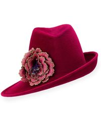 Philip Treacy | Sidesweep Fedora W/ Embroidered Flower | Lyst