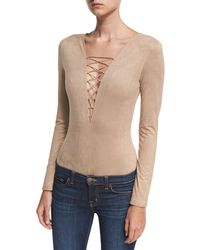 T By Alexander Wang - Faux-suede Long-sleeve Lace-up Bodysuit - Lyst