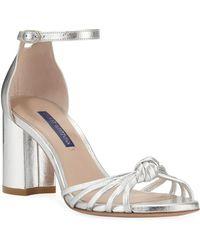 298b55aeaf01d Stuart Weitzman - Sutton Metallic Block-heel Sandals - Lyst