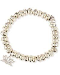 Sydney Evan - Pyrite Bead Bracelet With Diamond Lotus Charm - Lyst