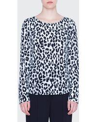 Akris Punto Super Leopard-print Silk Blouse - Blue