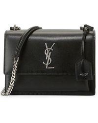 d22aaf38298 Saint Laurent Ysl Sunset Python Crossbody Bag in Black - Lyst