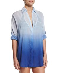 Letarte - Midnight Waves Ombre Button-down Coverup - Lyst