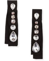 Lanvin - Crystal-embellished Grosgrain Clip-on Earrings - Lyst