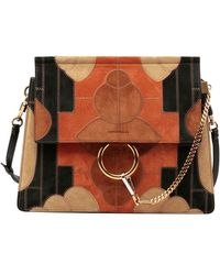 chloe drew small flower patchwork leather and suede shoulder bag