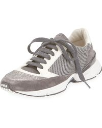 Brunello Cucinelli - Diagonal-monili Contour Suede and Leather Trainers - Lyst