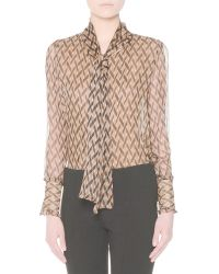 Agnona - Printed Silk Tie-neck Blouse - Lyst