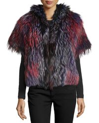 Tasha Tarno - Short-Sleeved Boxy Fox Fur Jacket - Lyst