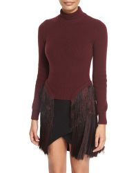 Thierry Mugler | Turtleneck Sweater W/fringed Sides | Lyst