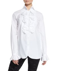Pink Pony - Ruffled Cotton Blouse - Lyst