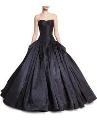 Zac Posen - Strapless Drop-waist Faille Ball Gown - Lyst