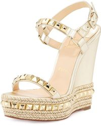 Christian Louboutin Cataclou Studded Leather Wedge Red Sole Sandal - Metallic