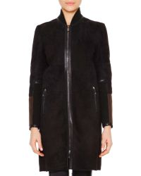 Callens Leather-trimmed Shearling Fur Bomber Jacket - Blue