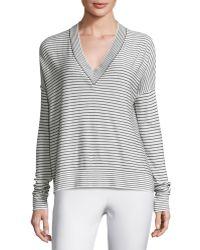 ATM - Eased Striped V-neck Pullover Jumper - Lyst