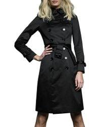 Burberry Brit Sateen Trench Coat - Black