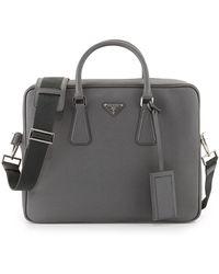 84dd609cd24f Prada - Saffiano Logo Briefcase With Shoulder Strap - Lyst