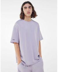 Bershka Camiseta Felpa Efecto Lavado - Morado