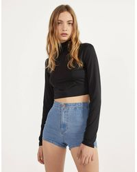 Bershka Short denim High Waist - Azul