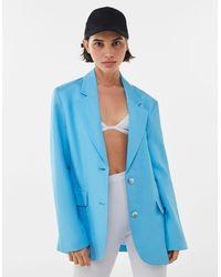 Bershka Blazer Lino - Azul