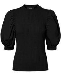 Vero Moda Halflange Pofmouw Top Met Korte Mouwen - Zwart