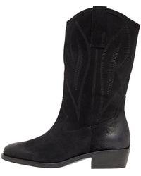 Bianco Suède Cowboy Boots - Zwart