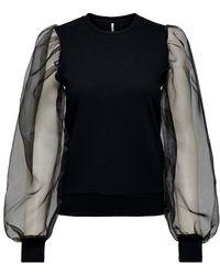 ONLY Organza Mouw Sweatshirt - Zwart