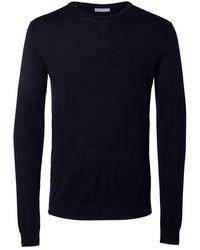 SELECTED Merinowollen Sweater - Blauw