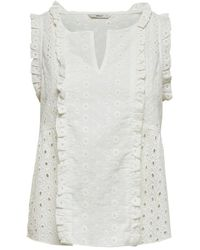 ONLY Broderie Anglaise Mouwloze Top - Wit
