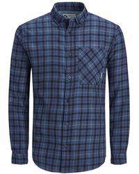 Jack & Jones Slim Fit Geruit Overhemd - Blauw