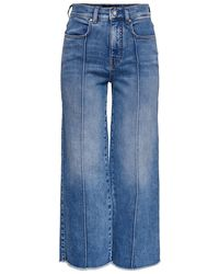 ONLY Onqamy Hw Wide Legs Cropped Straight Fit Jeans Dames Blauw
