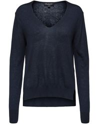SELECTED V-hals Sweater - Blauw