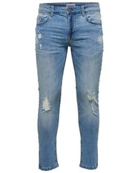 Only & Sons Warp Crop Blue Stripe Skinny Jeans - Blauw