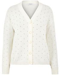 Pieces Drop-stitch Patroon Vest White - Wit