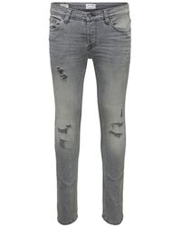 Only & Sons - Onsloom Grey Slim Fit Jeans - Lyst