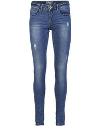 ONLY Onlcoral Superlow Destroyed Skinny Fit Jeans - Blau