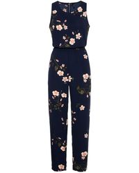 Vero Moda Blumenprint Jumpsuit - Blau