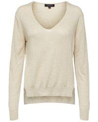 SELECTED V-hals Sweater - Naturel