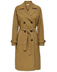 ONLY Klassieke Lange Trenchcoat Dames - Bruin