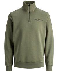 Jack & Jones Stehkragen Reißverschluss Sweatshirt - Grün